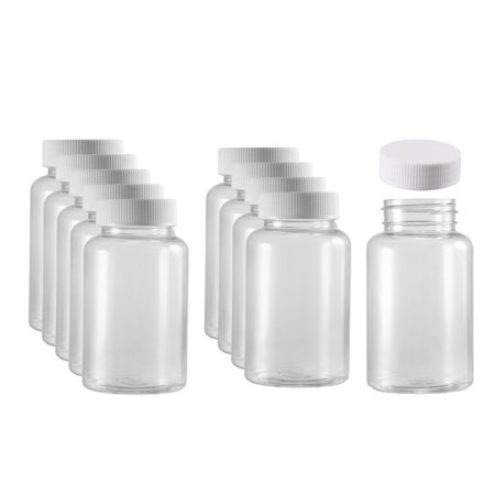 Plastic Lab Chemical Reagent Bottle 200ml/6.8oz Wide Mouth Sample Sealing Liquid Storage Container 10 pcs