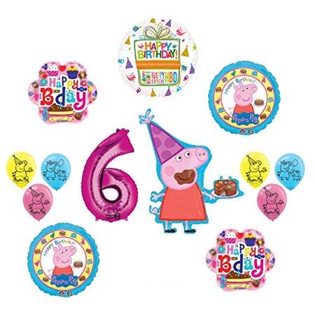 Peppa Pig 6th Birthday Party Balloon supplies and decorations kit (Peppa Pig Birthday Balloons)