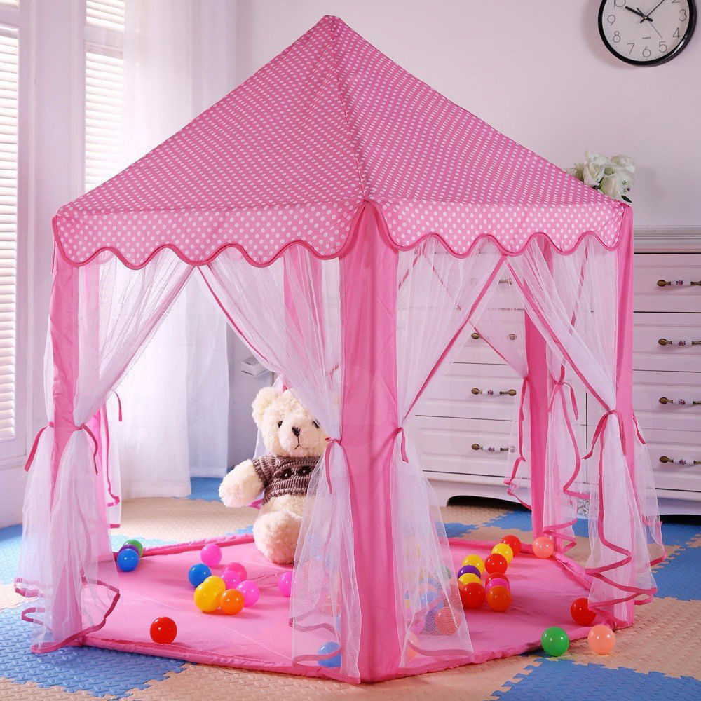 Princess Girls Large Castle Tent Kid Funny Play Outdoor Indoor Playhouse Pink & Princess Tents