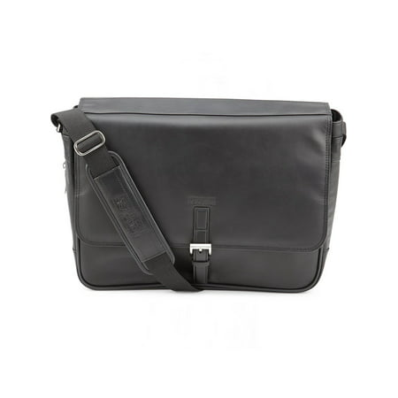Kenneth Cole Expandable Leather Laptop Briefcase Computer Case Messenger Bag Black One Size