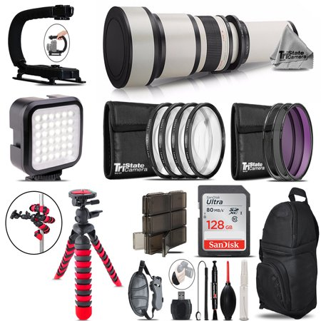 600-1300mm Telephoto Lens Nikon D3100 D3200 - Video Kit + Backpack + 128GB 600 Mm Carbon