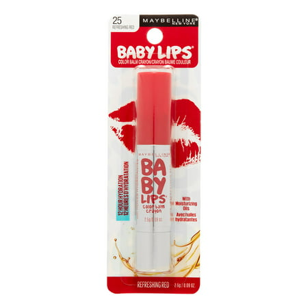 Maybelline New York Baby Lips Color Balm Crayon, Refreshing Red, 0.09 Oz