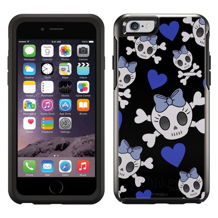 Skin Decal For Otterbox Symmetry Apple Iphone 6 Case   Cutie Skulls Blue On Black