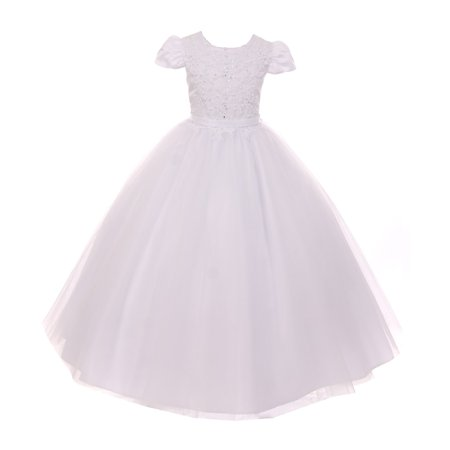 - Rain Kids Girls White Pearl Sequin Accent Satin Tulle Communion Dress