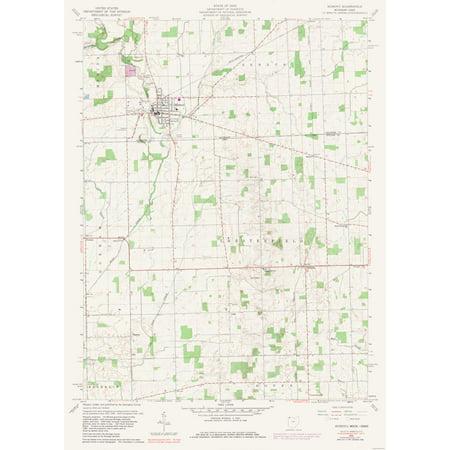 Topographic Map Morenci Michigan Quad Usgs 1960 23 X 32 13