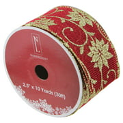 """Cranberry Red and Gold Poinsettia Christmas Wired Craft Ribbon 2.5"""" x 10 Yards"""