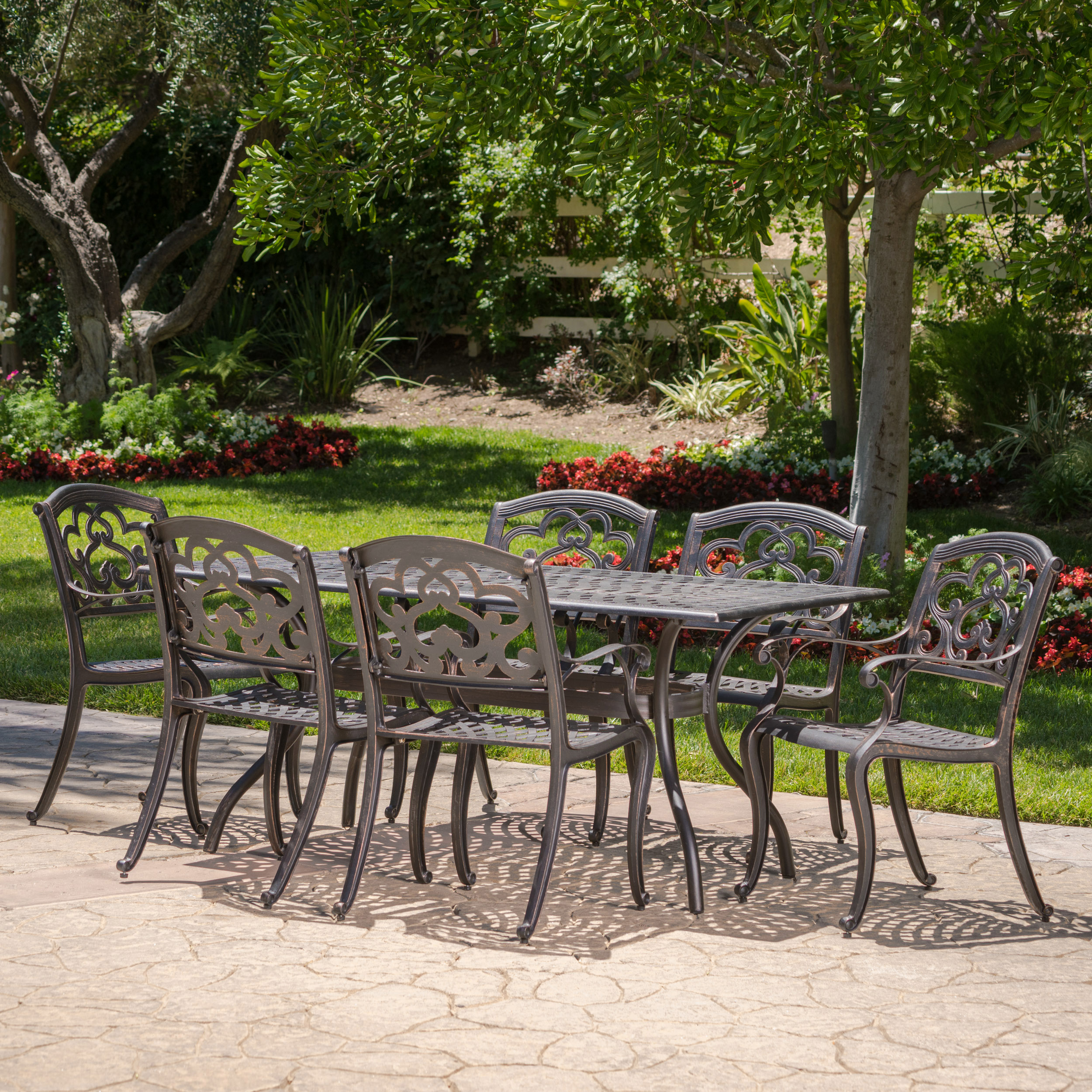 Atlanta Outdoor 7 Piece Cast Aluminum Rectangular Dining Set, Shiny Copper Finish