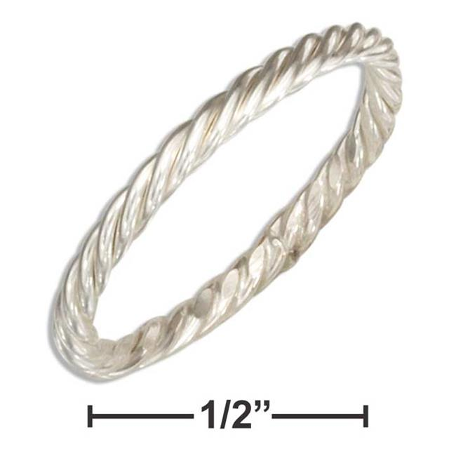 P-020740-08 8 in. Sterling Silver Wire Rope Band Ring - image 1 de 1
