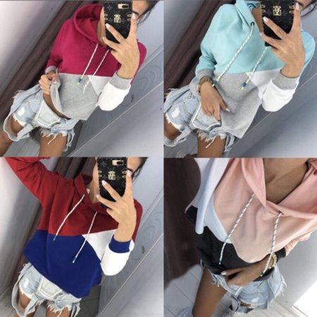 (Hot Sale Fashion Womens Casual Long Sleeve Hoodie Hooded Pockets Sweater Pullover Tops)