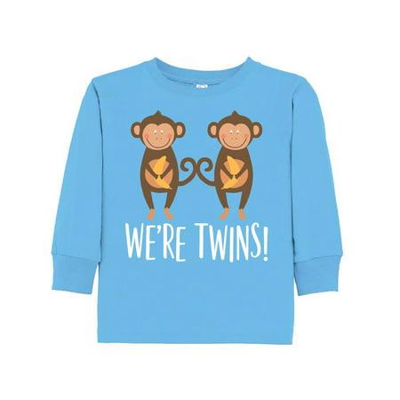Monkey Twins Boy Girl Gift Idea Toddler Long Sleeve T-Shirt (Boy Girl Twin Halloween Ideas)