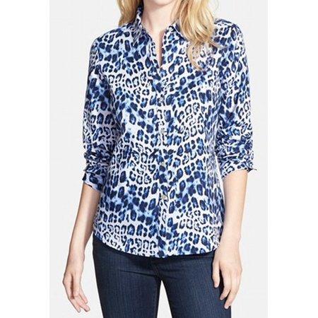 07aa5b4f Foxcroft - NEW Blue Women's 8P Petite Animal Print Button Down Shirt ...
