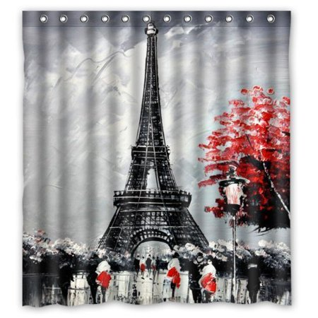 GreenDecor Special Paris Eiffel Tower Waterproof Shower Curtain Set with Hooks Bathroom Accessories Size 66x72 inches