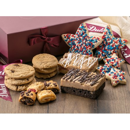 Dulcet Labor Day Gift Basket – Elegant Gift Box Filled with Delectable Fresh Pastries + Hand-designed Patriotic Cookies. Unique & Charming Holiday Gift Idea. ()