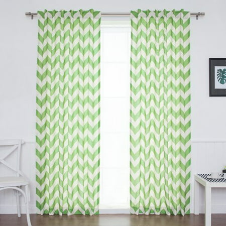 Best Home Fashion, Inc. Slub Chevron Sheer Rod Pocket Curtain Panels (Set of