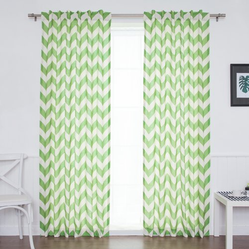 Best Home Fashion, Inc. Slub Chevron Sheer Rod Pocket Curtain Panels (Set of 2)