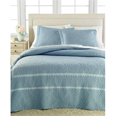 Martha Stewart Collection Flowering Trellis Slate Blue Standard Quilted Sham ()