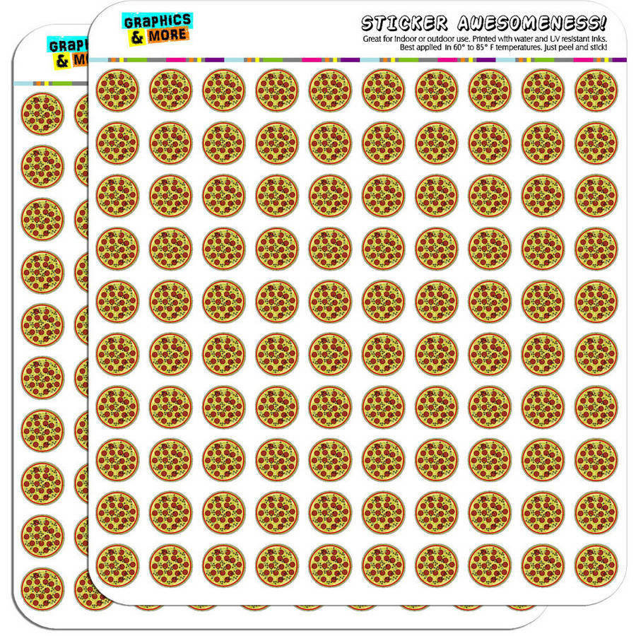 "Pizza 200 1/2"" (0.5"") Planner Calendar Scrapbooking Crafting Stickers"