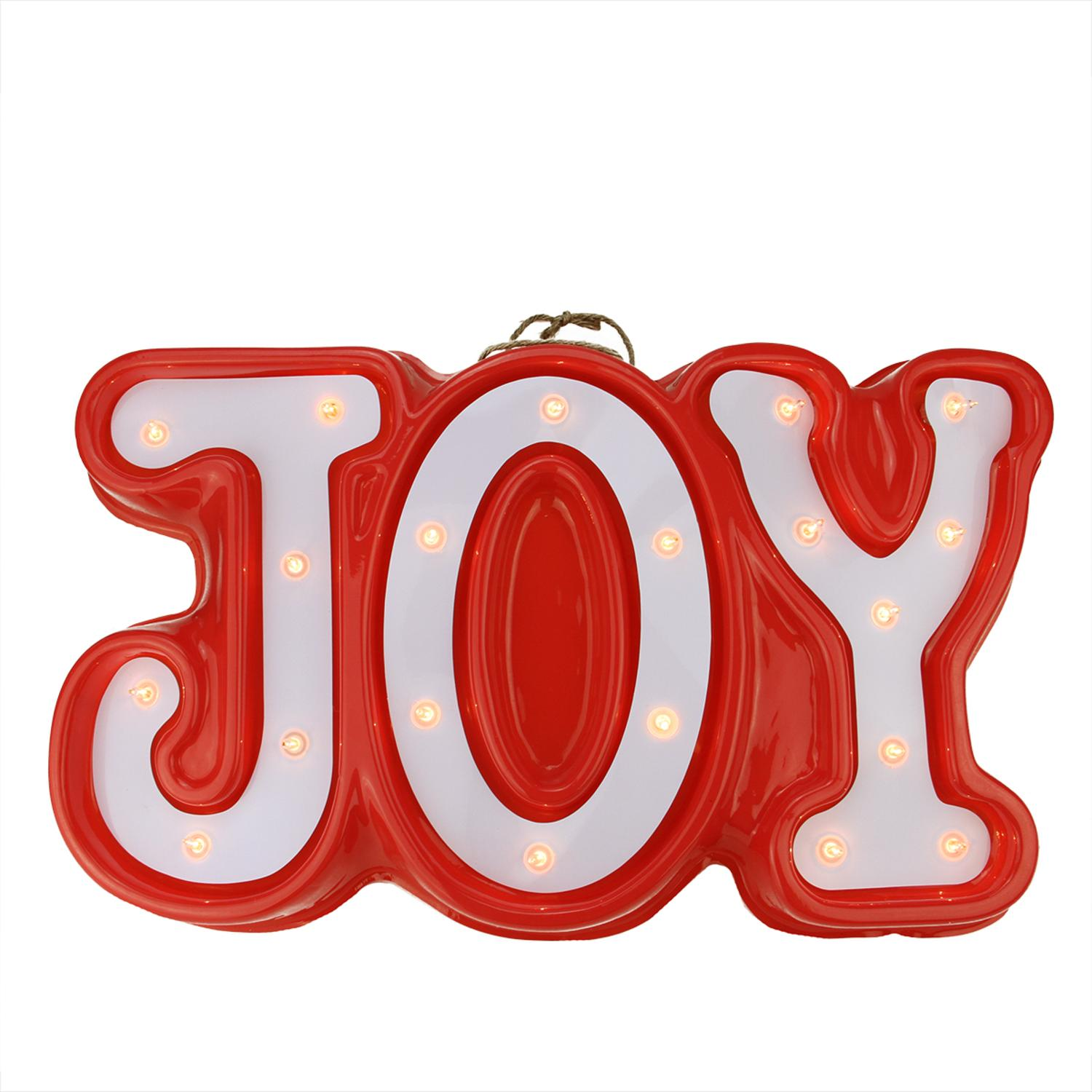 """19"""" Lighted Red and White """"JOY"""" Hanging Christmas Window or Wall Decoration by Northlight"""