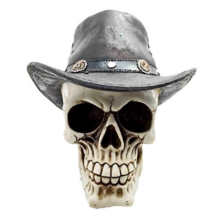 Western Life Cowboy Rodeo Villain Skull With Cool Hat Skeleton Figurine Statue