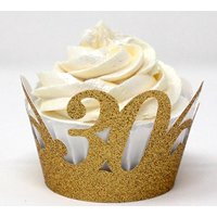 All About Details 30 Cupcake Wrappers,12pcs, 30th birthday decoration, 30th anniversary decoration (Glitter Gold)