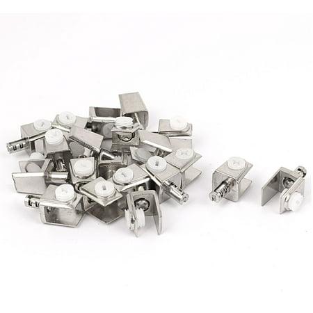 Shelf Clip Brackets (Adjustable 3mm-8mm Thick Rectangle Glass Shelf Bracket Clamps Clip Holder 20pcs)
