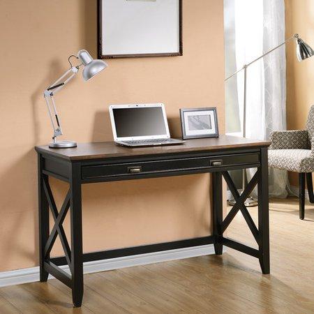 Homestar Writing Desk with Drawer, Black/Wood