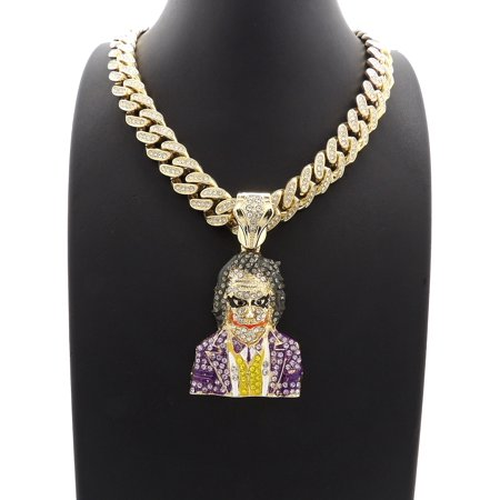 - Hip Hop Fashion Iced Out Legendary Joker Pendant w/ 20