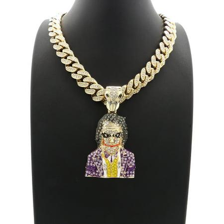 Hip Hop Fashion Iced Out Legendary Joker Pendant w/ 20