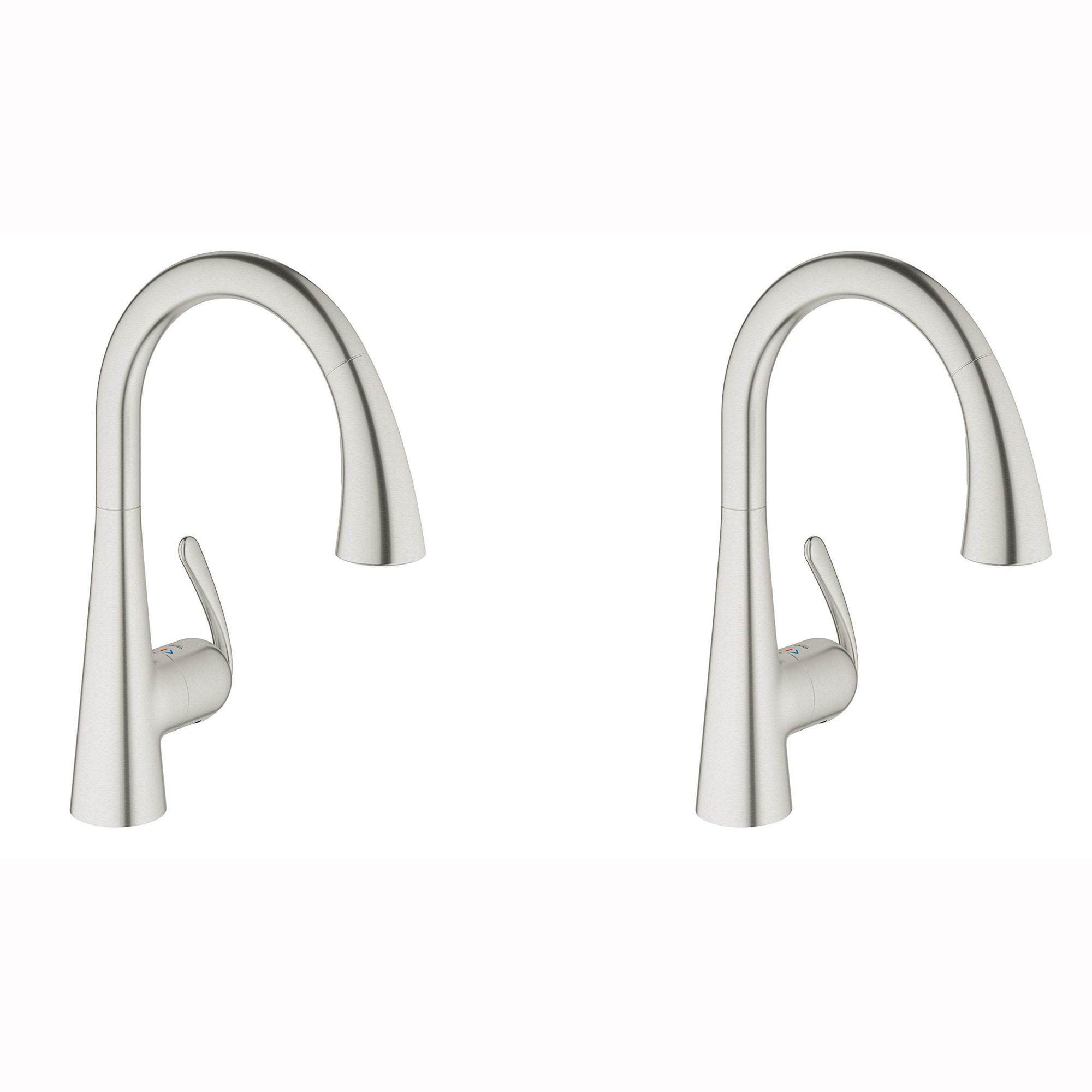 Grohe Ladylux Single Handle Swivel Kitchen Faucet With Steel Finish 2 Pack Walmart Com Walmart Com