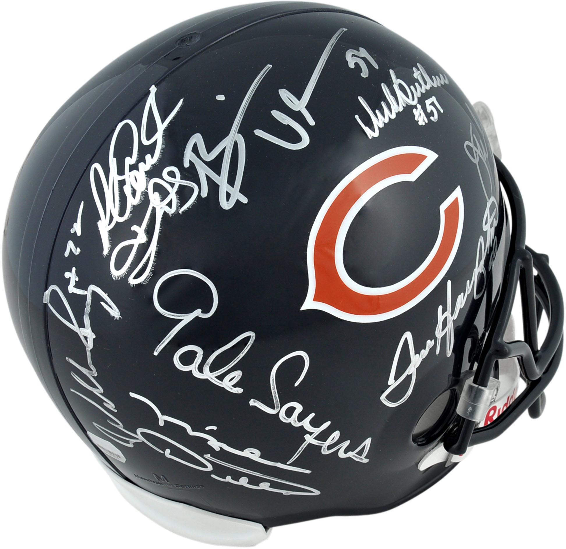 Chicago Bears Autographed Riddell Replica Helmet with 8 Signatures - Fanatics Authentic Certified