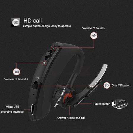 fashionhome Walkie Talkie Wireless Headset Bluetooth Headsets Two Way Radio Headphone Earpiece Replacement for Baofeng 888S UV5R - image 6 of 7