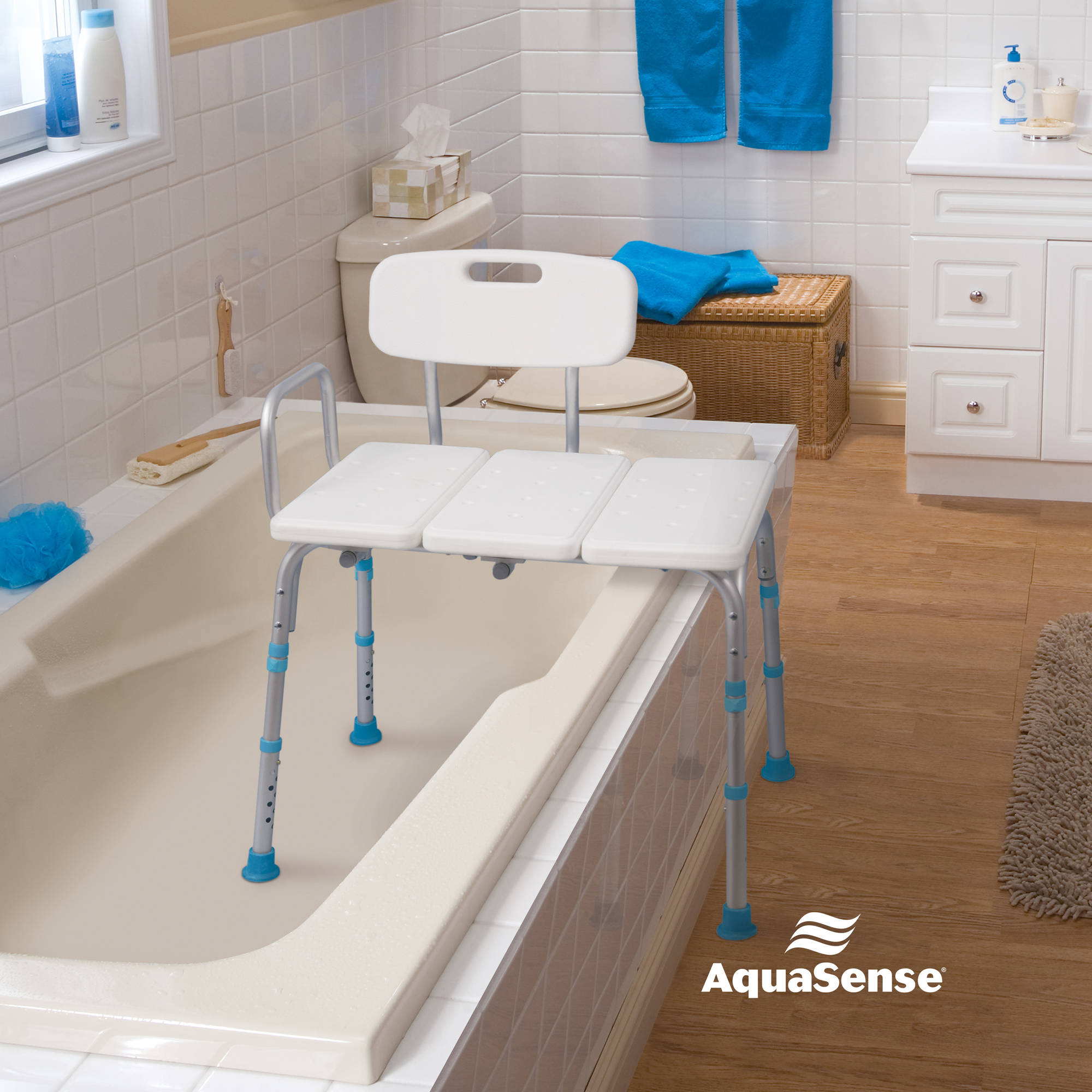 AquaSense Adjustable Bath and Shower Transfer Bench with Reversible ...