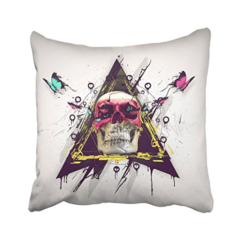 WinHome Colorful Skull Red Yellow Blue Butterfly Black Rectangle Vintage Decorative Pillowcases With Hidden Zipper Decor Cushion Covers Two Sides 20x20 inches