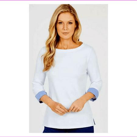 NAUTICA Ladies' Boat Neck 3/4 Sleeve Shirt M/1BW Bright White