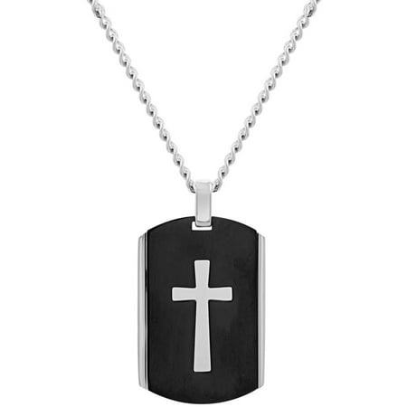 Reinforcements Two-Tone Men's Cross Dog Tag Curb Chain Necklace, 18