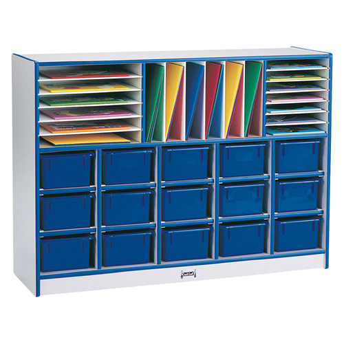 Jonti-Craft Rainbow Accents  Sectional Tray Portable 35 Compartment Cubby with Trays