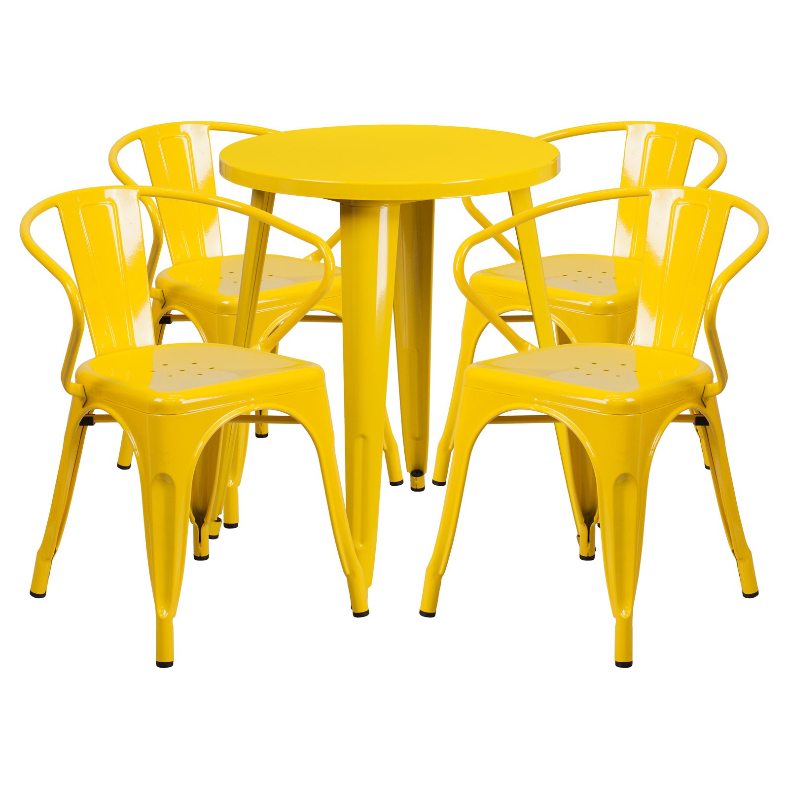"Flash Furniture 24"" Round Metal Indoor-Outdoor Table Set with 4 Arm Chairs, Multiple Colors"