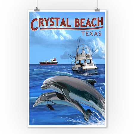 Crystal Boat (Crystal Beach, Texas - Fishing Boat with Freighter and Dolphins - Lantern Press Poster (9x12 Art Print, Wall Decor Travel Poster) )