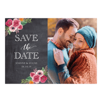 Personalized Wedding Save the Date Card - Rustic Blooms - 5 x 7 Flat