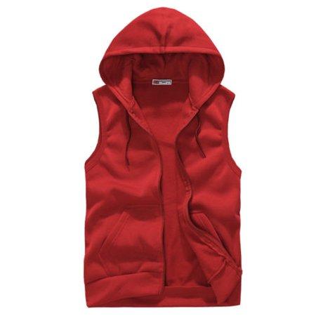 Men Hooded Vest Casual Zipper Pocket Sleeveless Couple Sports Hoodie Sweatshirts