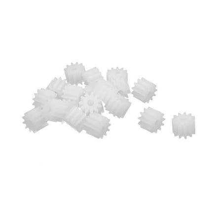 20pcs 11 Teeth 1.95mm Hole Dia Plastic Gear Wheel for Toy Car Motor Shaft