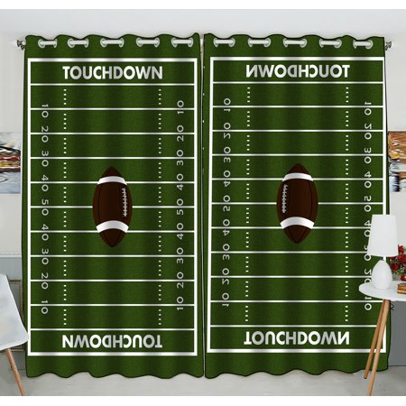 GCKG Football Ground Window Curtain,Football Ground Grommet Blackout Curtain Room Darkening Curtains For Bedroom And Kitchen Size 52(W) x 84(H) inches (Two - Football Curtains