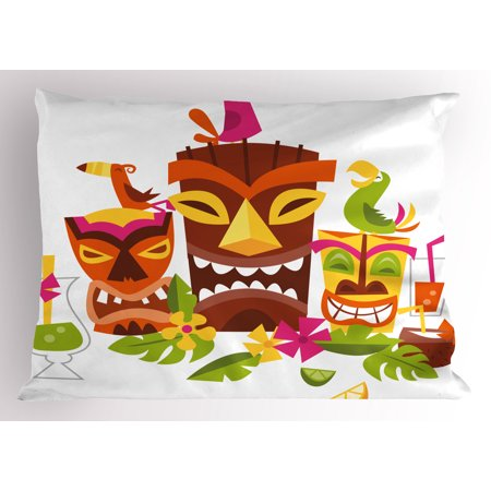 Luau Pillow Sham Three Grimacing Tiki Party Masks Surrounded by Leaves Drinks and Cute Toucan Birds, Decorative Standard Size Printed Pillowcase, 26 X 20 Inches, Multicolor, by Ambesonne (Tiki Drinks)