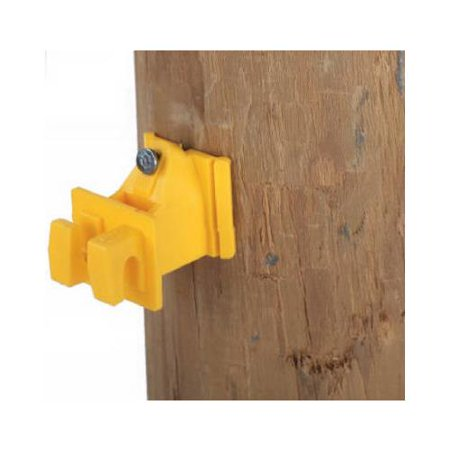 Dare Products 1728-25 Electric Fence Insulator, Wood Post Wire, Snug-Fit, With Nails, Yellow, 25-Pk.