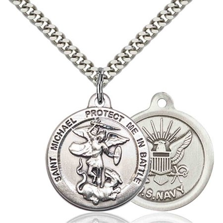 7 3 Sterling Silver Saint St  Michael The Archangel Medal Pendant 7 8 X 1 3 8 Patron Saints On A 24 Inch Stainless Silver Curb Chain Necklace Gift Boxed