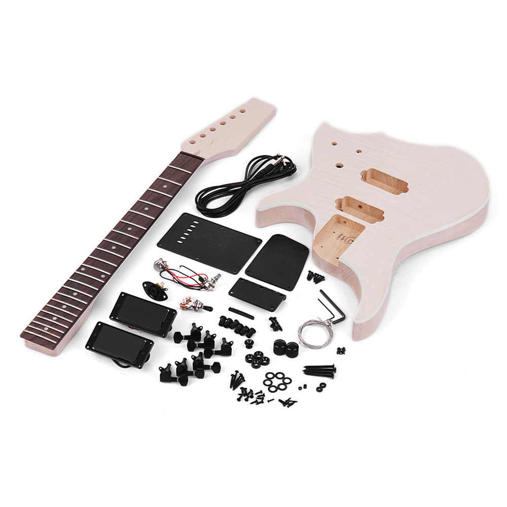 Muslady Unfinished DIY Electric Guitar Kit Basswood Body Maple Guitar Neck Rosewood Fingerboard