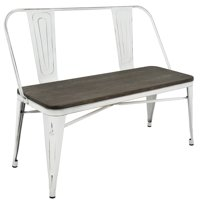 LumiSource Oregon Industrial-Farmhouse Dining Bench, Vintage White and Espresso