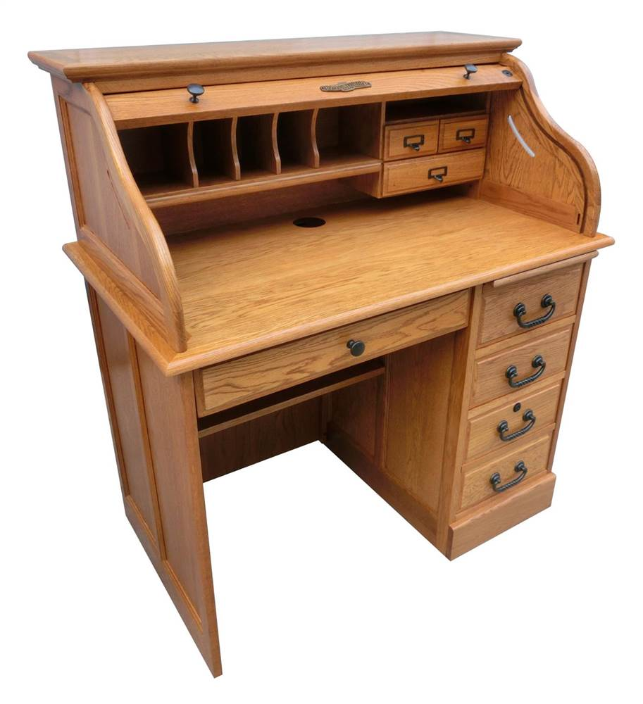 42 in. Moon Student Roll Top Desk in Harvest Oak
