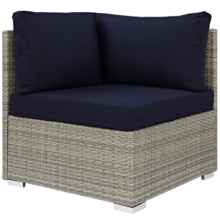 Modern Contemporary Urban Design Outdoor Patio Balcony Garden Furniture Sofa Corner Chair, Sunbrella Rattan Wicker, Navy Blue Light Gray