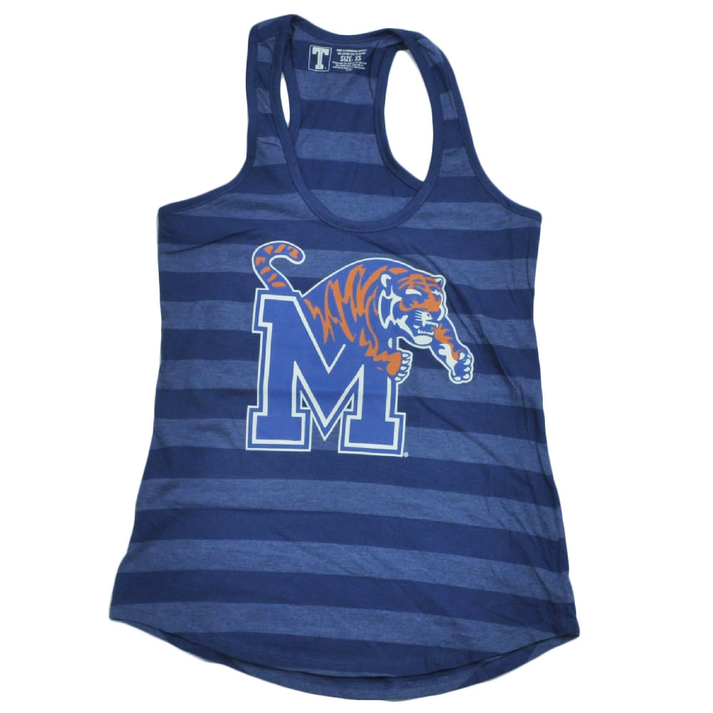 NCAA Memphis Tigers Blue Striped Racerback Tank Top Shirt Women Ladies 2XLarge